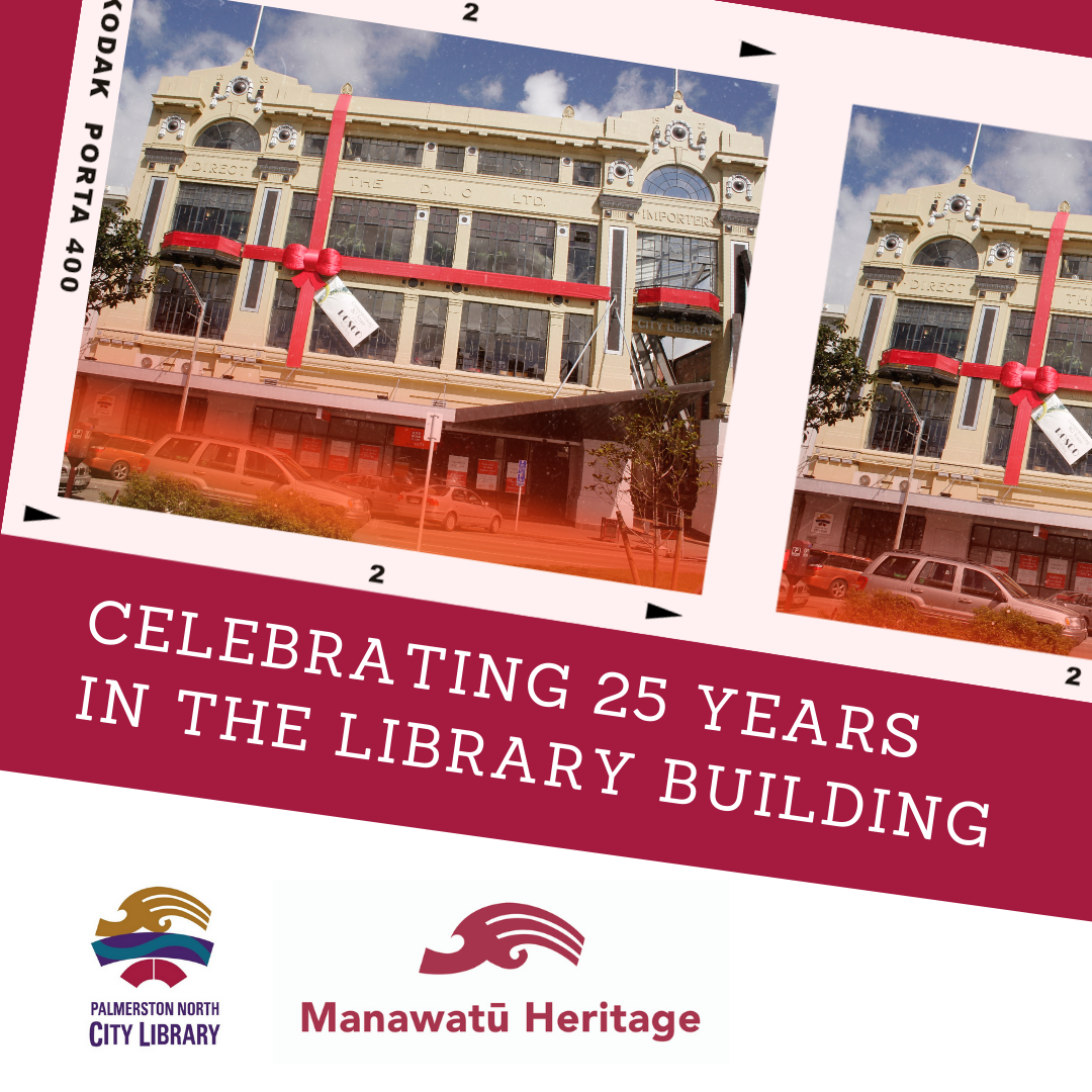 Image depicts poster of Library heritage building and logos for the City Library and Manawatū Heritage website.
