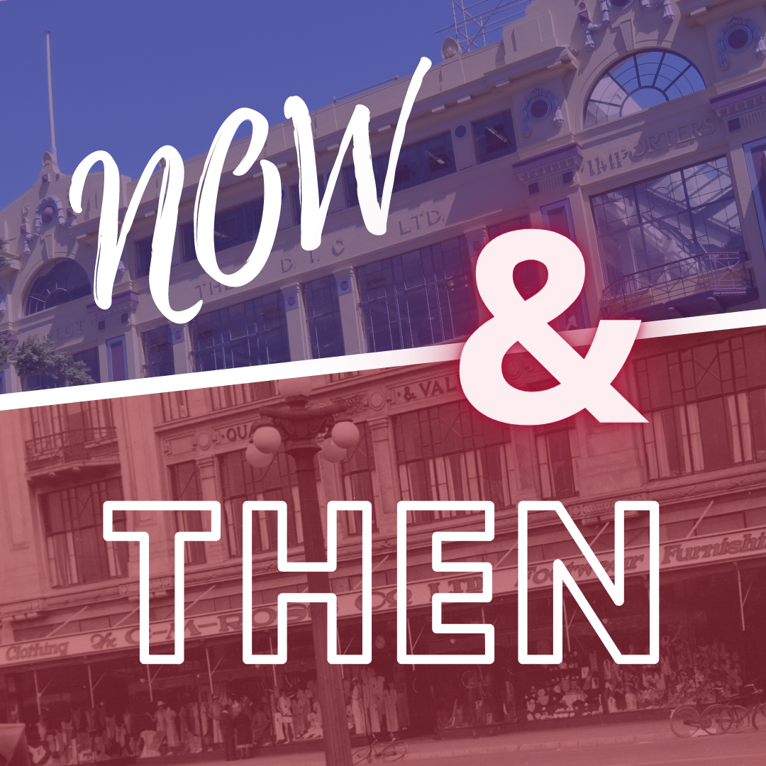 Image depicts 'Now and then' feature with old and new depictions of the CM Ross building in Palmerston North.