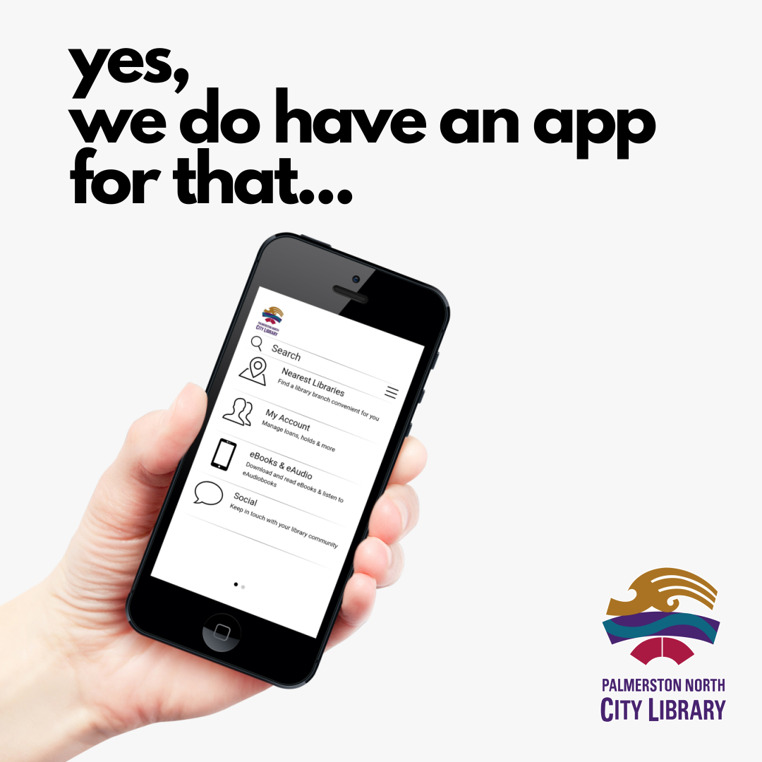 hand holding mobile phone with city library app on screen