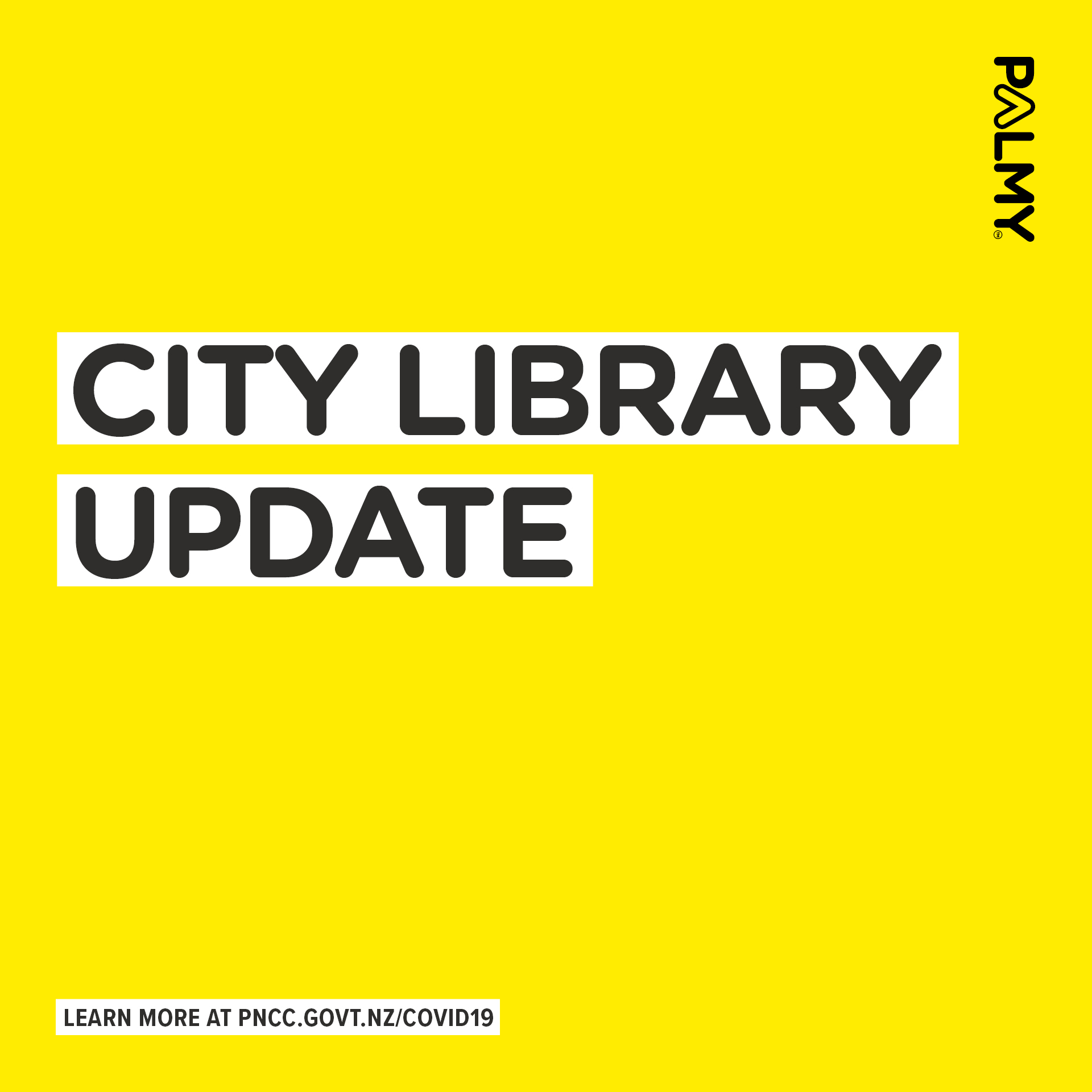 """Yellow background with black letters saying """"City Library Update"""""""