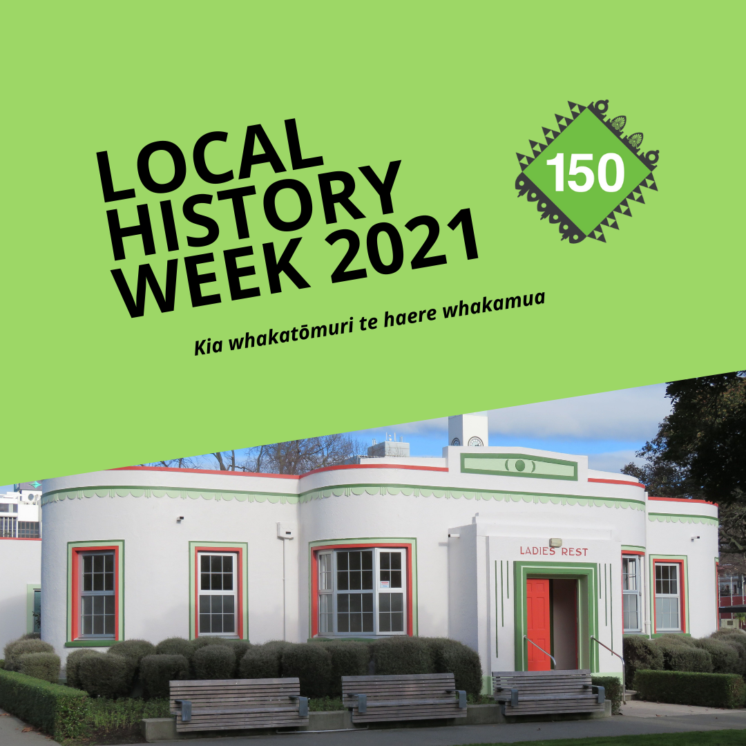 Image depicts logo for Local History Week 2021 with image of the Women's Rest Art Deco building painted white, red and green.